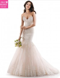 2015 Designer Custom Made Ivory Lace With Beads And Sequins Mermaid Wedding Dresses Organza HK-96