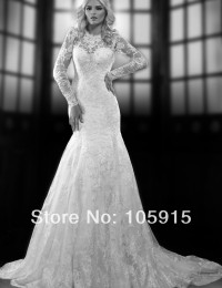 2014 Elaborate Sexy Lace Scoop Mermaid Open Back Long Sleeves Sheer Beading Crystal Wedding Dresses Bridal Wedding Gowns SV319