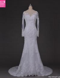 Romantic Sexy See Through Scoop Long Sleeves Chapel Train Lace Wedding Dress Mermaid Wedding Dresses Vestido De Novia 2015 MF-10
