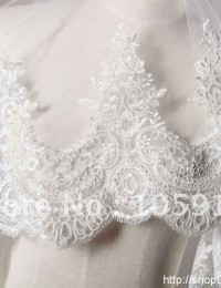 High Quality Ivory/White/Beige One Layer Lace Edge Gossamer Wedding Bridal Veils HL-319