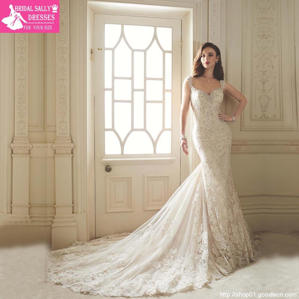 Vestido De Noiva 2016 Sereia Lace Wedding Dress Gowns Sexy Mermaid Wedding Dresses Chapel Train Robe De Mariage W201612
