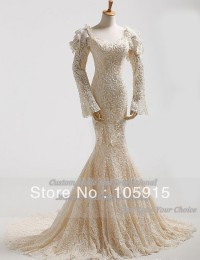 Custom Made Actual Images Luxury Ivory Beads Pearls Lace Corset Bandage Mermaid Wedding Dresses With Long Sleeves Satin AL-26