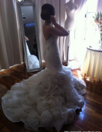 Vestidos De Renda Real Sample Luxury White With Crystal Backless Handmade Flower Mermaid Wedding Dresses Organza VC160