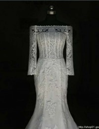 Fashionable Custom Made Off The Shoulder Elegant Long Train See Through Lace Mermaid Wedding Dresses Robe De Mariage 2015 MK-7