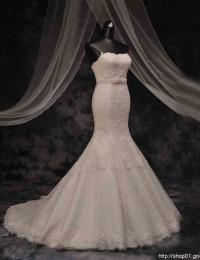 Romantic Real Sample Strapless Mermaid Wedding Dresses With Sash Lace Wedding Dress Vestido De Noiva Casamento 2016 MM02A