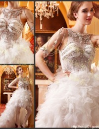 High Low Luxury Vintage Scoop Spaghetti Strap Sleeveless See Through Beaded Crystals Sweep Train Lace Wedding Dresses 2014 MF014
