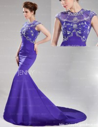 2014 Luxury Fashion Purple With Crystal Sexy See Through Mermaid Evening Dresses Prom Dresses Satin VC119