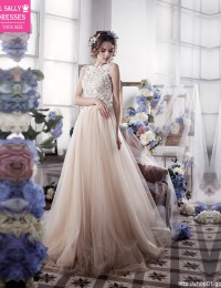Romantic A-Line Tulle Lace Wedding Dresses Vintage Backless Wedding Gowns Robe De Mariage 2016 Casamento Bride Dresses W1124L