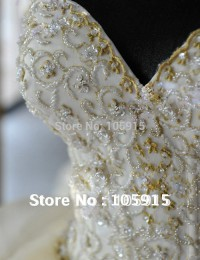 2015 Royal Puffy White Sweetheart Bandage Long Chapel Train Lace Bridal Wedding Dresses with Crystal WD-29