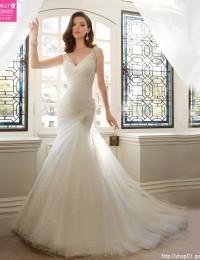 2016 Vintage Sexy Mermaid Wedding Dresses Pleat V-Neck Chapel Train Robe De mariage Vestido De Noiva Shining Beaded W1120B