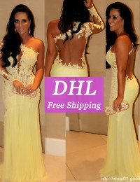Real Sample Charming Yellow Back See Through Lace Mermaid Evening Dresses With Long Sleeve Prom Dresses Chiffon VC126
