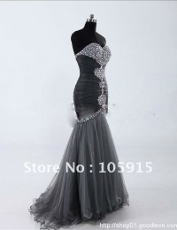 Silver Trumpet Mermaid Sweetheart Floor-length Sleeveless Beaded Rhinestone Glaring Formal Prom Dress Evening Gowns Tulle HL-286