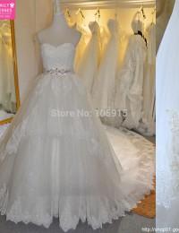 Sumptuous Real Sample Beaded Sash Lace Wedding Dress Summer Appliqued Robe de Mariage Bridal Gowns Vestido De Noiva 2015 MS95