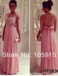 2014 Hot & Sexy See Through Tulle Back Half Sleeves Lace Applique A-line Floor Length Pink Chiffon-Prom Party Dresses Gowns MP-4