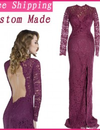 2014 Real Sample Long Sleeves Full Lace Mother Of The Bride Dresses Open Back Sheath Split Long dress Women Purple Satin EV1064