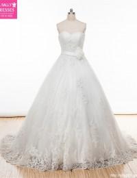 2015 Elegant Custom Made A Line Wedding Dresses Sweetheart Strapless With Flower Sash Lace Wedding Dress Vestido De Noiva MY-51