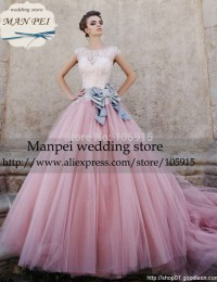 2015 vintage Elegant Luxury Ball Gown Scoop Cap Sleeves Bow Sash Sheer Pink Lace Beaded  Wedding Dress Bridal Gown MFW-1