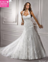 2014 Sexy Free Shipping White Sweetheat Halter Lace Wedding Dress Mermaid Wedding Dress Court Train JK09