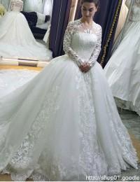 Robe De Mariage Ball Gown Wedding Dresses Long Sleeve Muslim Wedding Gowns Bridal Dresses Vestido De Noiva Bridal Dresses W1165