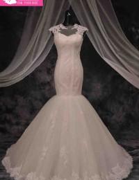 2015 Romantic Summer Style See Through Mermaid Wedding Dresses Robe De mariage Lace Wedding Dress Bride Dresses 100% Real MM10