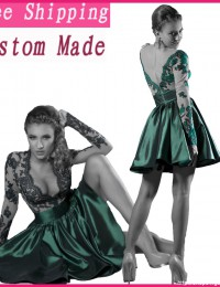 Hot New Unique Design Long Sleeve Dark Green Lace Short Cocktail Dresses Prom Dresses Satin CO1030
