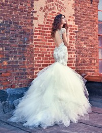 Luxury Beading High Neck Mermaid Wedding Dresses Sexy Vintage Wedding Gowns Tiered Shining Fashionable Wedding Dress W122424