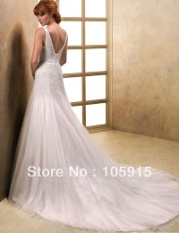 Noble Luxury Crystal Buttons V-Neck And Back High-Low With Veil Wedding Dresses Free Shipping Bride Wedding Gowns Organza SV19