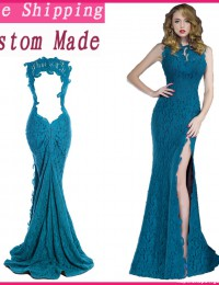 2014 Real Elegant Turquoise Blue Sleeveless Lace Mother Of The Bride Dresses Mermaid Long dress women Party Chiffon EV1059