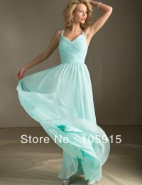 Hot Sale Mint Green Long Chiffon Spaghetti Straps Ruched Bridesmiad Dresses Free Shipping BN1046