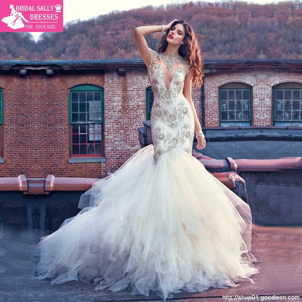 5750db40831c4 Luxury Beading High Neck Mermaid Wedding Dresses Sexy Vintage Wedding Gowns  Tiered Shining Fashionable Wedding Dress