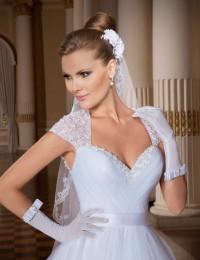 Romantic Noble Vestido De Noiva White Sweetheart Short Cap Sleeves Open Back Beading Pleat Long Vintage Wedding Dress 2014 MF260