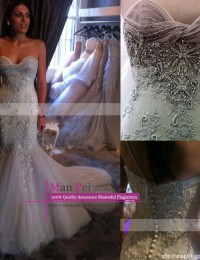 Vestidos De Novia New Vintage Sweetheart Strapless Criss-Cross Sleeveless Beading Long Lace Mermaid Wedding Dresses 2015 MH510