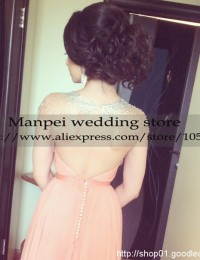 Vestido de Fiesta A-Line Peach Scoop Beading Crystals With Cap Sleeves Backless Floor Length Long Evening Dress Prom Gown MF-31