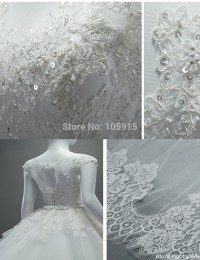 Real Sample Wedding Dresses A-Line See Through Cap Sleeves Sash Chapel Train Lace Wedding Dress Vestido De Casamento 2015 MK-29