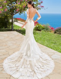 Vintage Wedding Dress 2016 Robe De Mariee Mermaid Wedding Dresses Lace Sleeves Sexy Backless Wedding Gowns Chapel Train W2016-1e