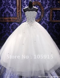 WD-31 New Style Strapless White Beading Sleeveless Floor-length Long Train Lace up Back Wedding Dress