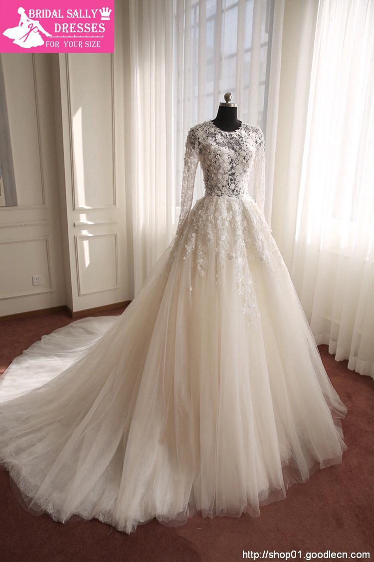 Long Sleeve Lace Wedding Dresses A-Line Romantic Vestido De Noiva 2015 Shopping Sales Online Robe De Mariee Wedding Gowns BW-012