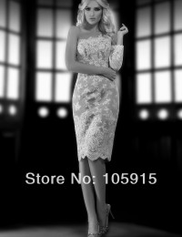 2014 Romantic Short Vintage Lace Sheath One-Shoulder Long Sleeves Beaded Crystal Knee Length Wedding Dress Bridal Gown SV3113
