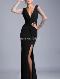 Fantastic Black See Through Sexy V-Neck Slit Long Sleeves Beading Mermaid Long Evening Dress Prom Dresses 2015 Evening Gown M007
