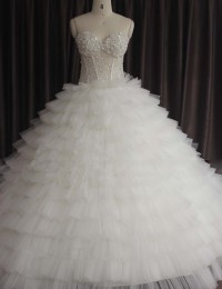 Sexy New Real Sample Ball Gown Wedding Dress 2014 Sweetheart Beaded Zipper Back Sleeveless Lace Wedding Dress Casamento MA-11