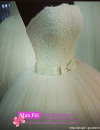Sexy Romantic Strapless Sleeveless With Bow Sash White Graceful Long Lace Ball Gown Wedding Dresses 2014 Vestido Novia MF182