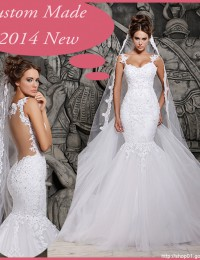 2014 Designers White Lace And See Through Mermaid Wedding Dresses With Removable Train Bridal Dresses Tulle MH-101