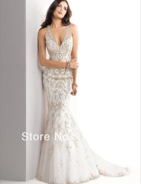 2014 Exquisite Hot Ivory Crystal Deep V-Neck Mermaid See Through Embroidered Wedding Dresses Bride Wedding Dress Satin SV13