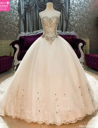 Luxury Crystal Princess Wedding Dresses 2015 Lace Up Sequins Vintage Wedding Gowns Shopping Sales Online Strapless W5877A