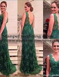 2015 Vestido de Festa Longo Sexy A-Line V-Neck Green Sleeveless Backless Long Lace Dress Party Evening Elegant Prom Dresses MF-9