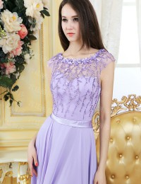 Fashionable Elegant A-Line Light Purple Scoop Cap Sleeves See Through Beading With Sash Long Chiffon Prom Dresses 2014 MF017
