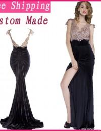 Actual Images Formal Mermaid Sleeveless Lace Evening Gowns Open Back Long dress Women Chiffon  EV1062