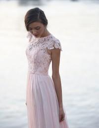 2015 Lace Scoop Sheer Cap Sleeve Long Prom Party Dresses Vestido De Festa Longo Bridemaid Dresses Chiffon MK-162