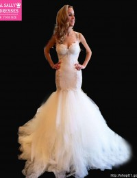 Amazing See Through Back Romantic Sexy Lace Wedding Dress Mermaid Wedding Dresses Vestido De Noiva Robe De Mariage 2015 MS102