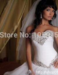 2014 Vintage Ball Gown Sweetheart Long Beaded Luxury  Crystal Floor Length Wedding Dresses Bridal Gowns vestido de noiva  MF-018